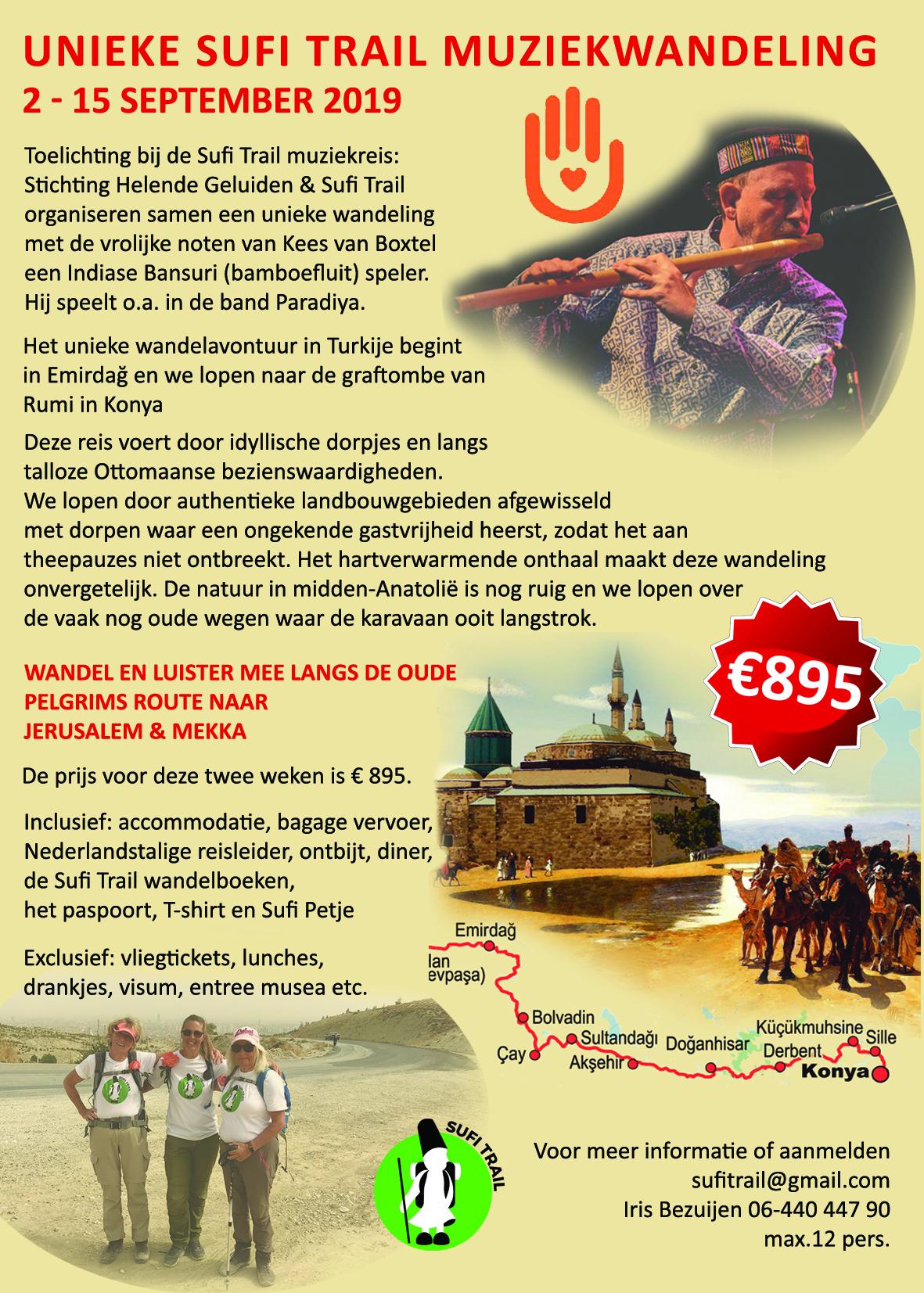 Advertentie voor de Muziekwandeling op de Sufi Trail