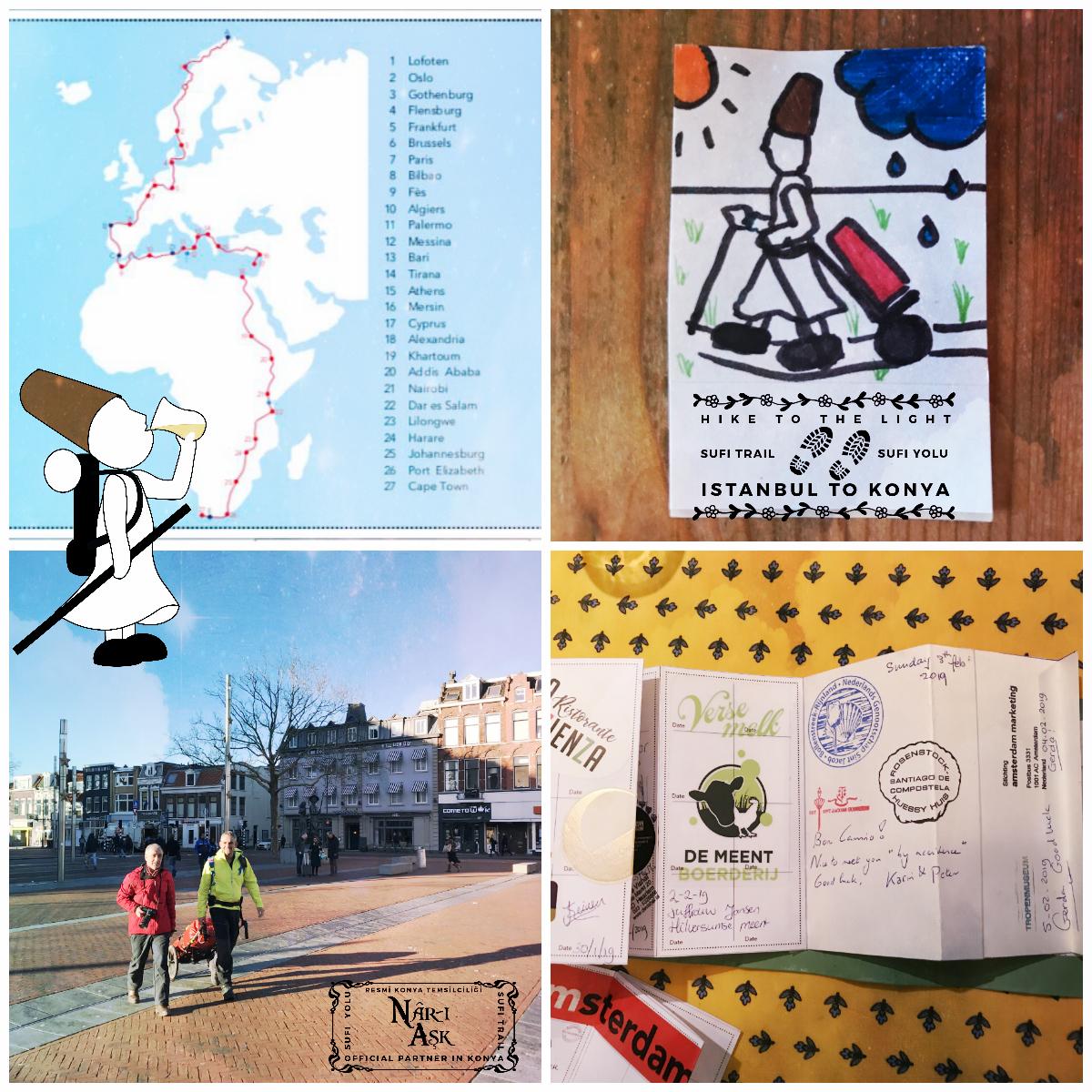 Een collage. Onder andere de route die Thair Abud loopt van de Noordkaap naar Kaapstad en zijn indrukwekkende paspoort met stempels