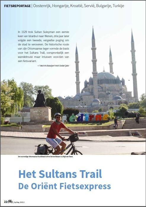 Eerste pagina van de fietsreportage van de Sultans Trail is het wandelmagazine van de Grote Routepaden